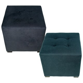 MJL Furniture Merton 4-Button Square Obsession Upholstered Ottoman