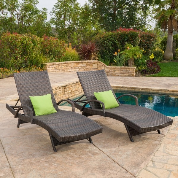 Christopher knight home toscana outdoor wicker armed for 2 armed chaise lounge