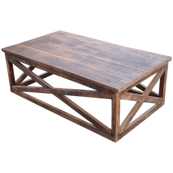 Wanderloot Plantation Sustainable Hand Scraped Mango Wood Rectangle Coffee Table India
