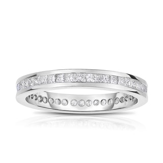 Eloquence, 18k White Gold 1ct TW Channel Set Princesscut Eternity Band (H-I, I1-I2)