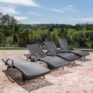 Christopher Knight Home Toscana Outdoor Wicker Armed Chaise Lounge Chair (Set of 4)