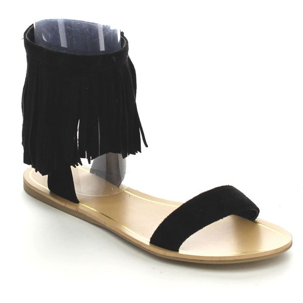 Wild Diva CLOVER-35 Women's Fringe Flat Sandals