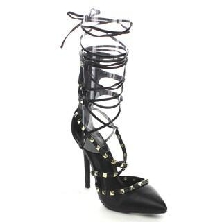 Wild Diva ADORA-126 Women's D'orsay Stud Criss Cross Lace-up Dress Heels