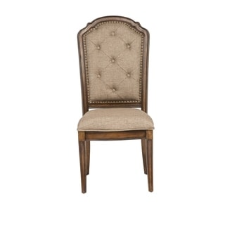 Amelia Antique Toffee Tufted Back Upholstered Side Chair