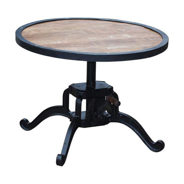 Round Coffee Table With Adjustable Height: Wanderloot Reclaimed Wood Adjustable Height Crank