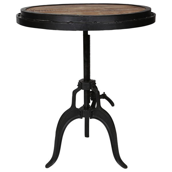Porter Round Coffee Table: Wanderloot Reclaimed Wood Adjustable Height Crank