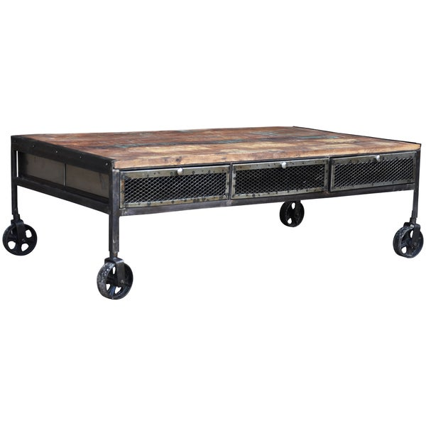 Wanderloot Industrial Metal Mesh Drawer Reclaimed Wood Coffee Table With Caster Wheels India