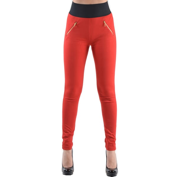 Dinamit Jeans Women's Red High Waisted Leggings