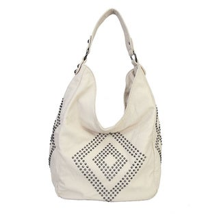 Rimen & Co. Solid Studded Diamond Pattern Hobo Handbag