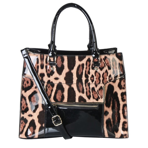 Rimen & Co. Leopard Faux Patent Leather Handbag