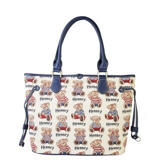 Henney Bear Stripe Bear Canvas Print Handbag