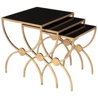 Safavieh Couture Collection Bayou Gold Leaf Black Glass Nesting Tables (Set Of 3)