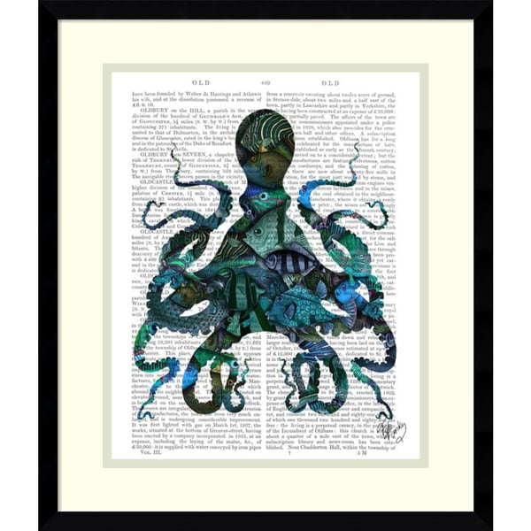 Fab Funky 'Fishy Blue Octopus' Framed Art Print 16 x 19-inch