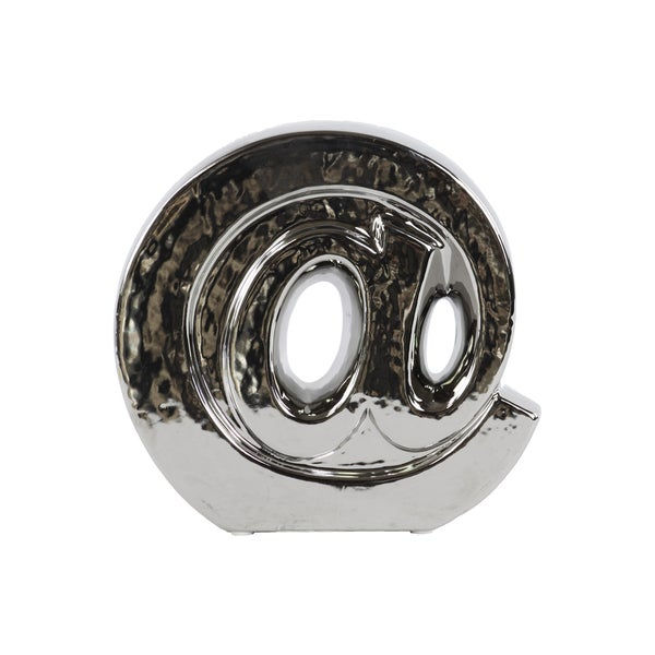 Polished Silver Chrome Finish Ceramic '@' Symbol Decorative Sculpture