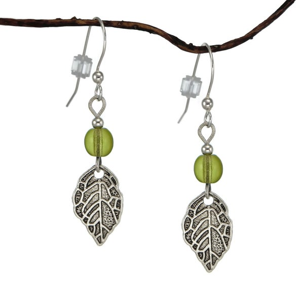 Jewelry by Dawn Olive Green Antique Pewter Leaf Earrings 17444755
