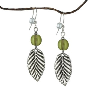 Jewelry by Dawn Olive Green Antique Pewter Leaf Earrings