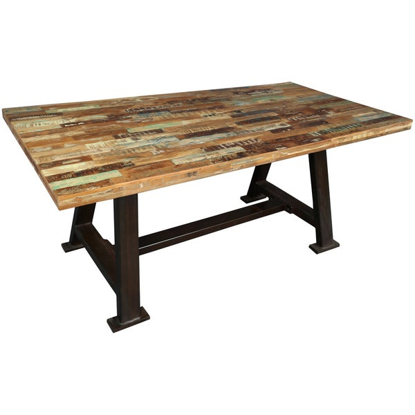 wanderloot brooklyn reclaimed salvage wood dining table with heavy metal industrial base india. Black Bedroom Furniture Sets. Home Design Ideas