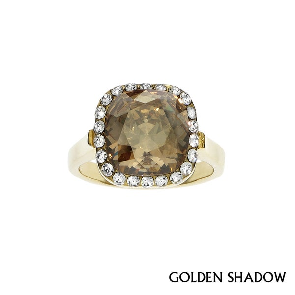 Isla Simone - Gold Plated Ring with Swarovski & White Crystal