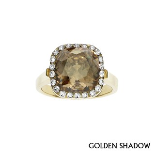 Isla Simone - Gold Plated Ring with Austrian Crystal & White Crystal