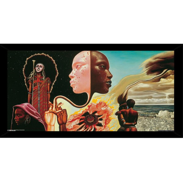 Miles Davis B*****s Brew Print (18-inch x 36-inch) with Traditional Black Wood Frame