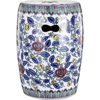 Multicolored Ceramic Floral Garden Stool