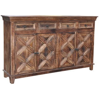 Wanderloot Plantation Mango Wood 4-door, 4-drawer Sideboard (India)