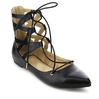 Beston DB53 Women's Lace Up Gladiator Ballet Flats