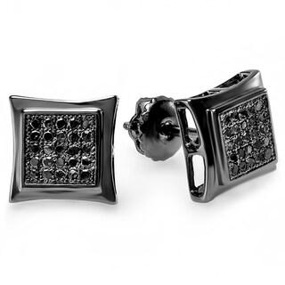 Black Rhodium-plated Sterling Silver 1/6ct TDW Black Diamond Pave Square Stud Earrings