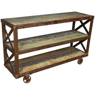 Porter Tulsa Iron and Wooden Trolley Side Table with 2 Bookshelves (India)