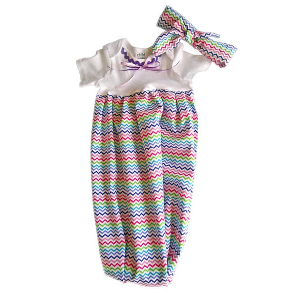 Baby Girl Layette Purple Chevron Coming Home Set