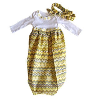 Baby Girl Layette Yellow/ Grey Chevron Coming Home Set