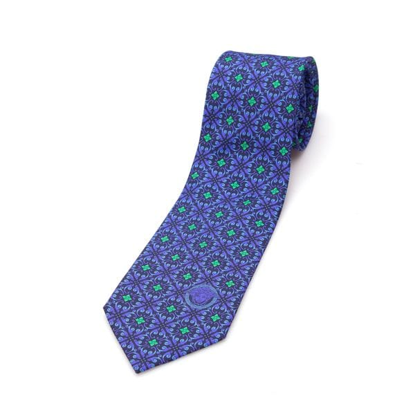 Versace Collection Men's Blue/ Green Floral Silk Slim Tie