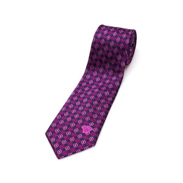 Versace Collection Men's Purple Geometric Silk Slim Tie