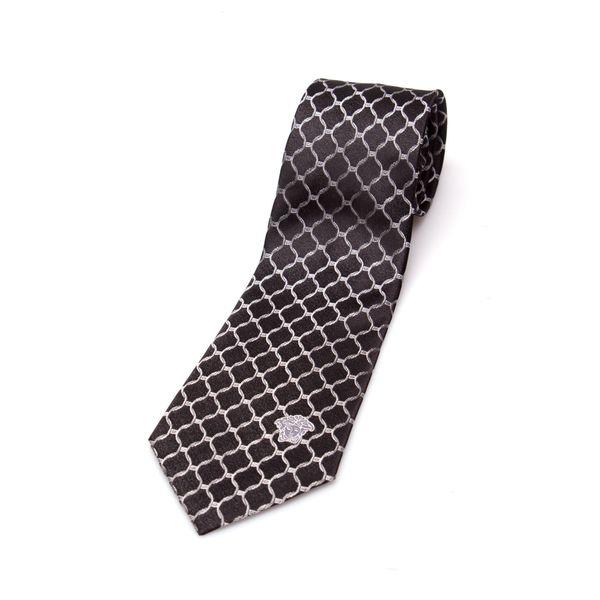Versace Collection Men's Silk Black/ Silver Large Link Slim Tie