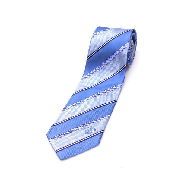 Versace Collection Men's Light Blue Stripe Silk Slim Tie