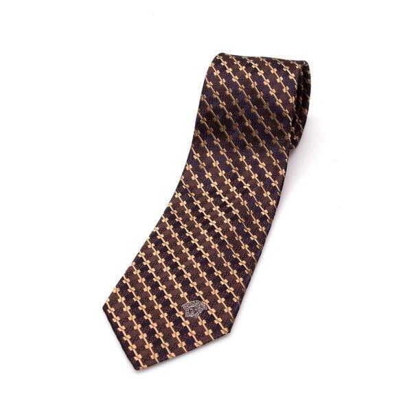 Versace Collection Men's Brown/ Gold Silk Slim Tie