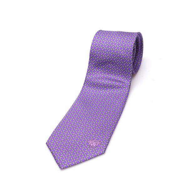 Versace Collection Men's Purple/ Silver Link Silk Slim Tie