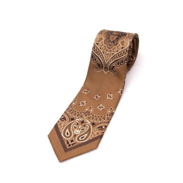 Versace Collection Men's Brown Bandana Silk Slim Tie