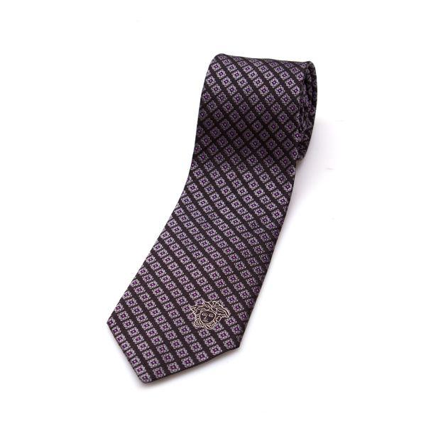 Versace Collection Men's Brown/ Purple Silk Slim Tie