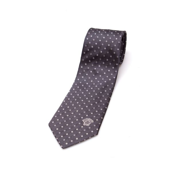 Versace Collection Men's Grey Diamond Silk Slim Tie