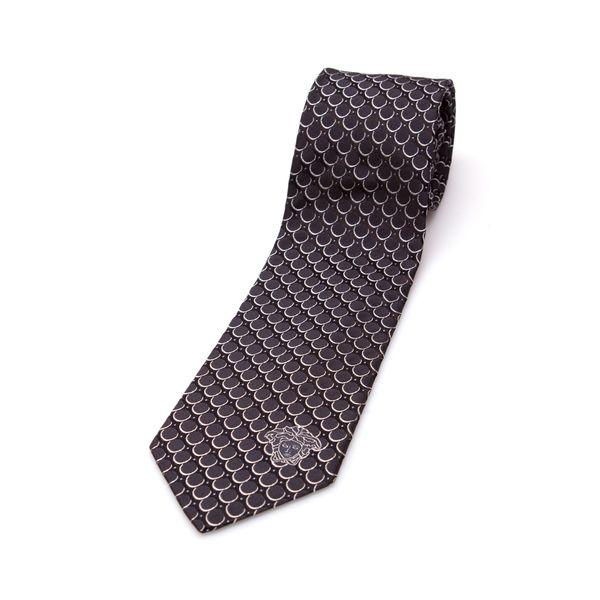 Versace Collection Men's Black Circle Silk Slim Tie
