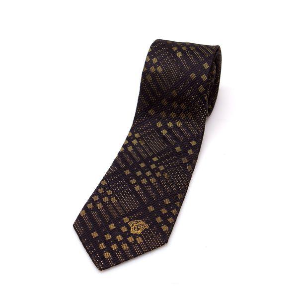 Versace Collection Men's Gold Plaid Silk Slim Tie