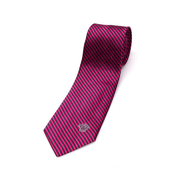 Versace Collection Men's Pink Stripe Silk Slim Tie