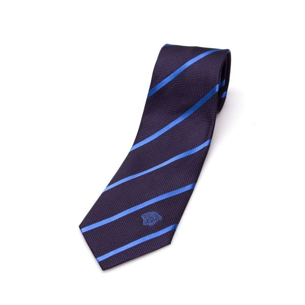 Versace Collection Men's Blue Stripe Silk Slim Tie