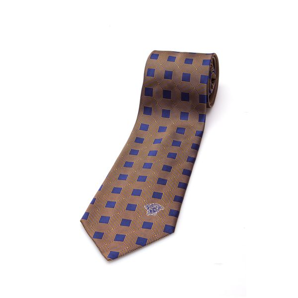 Versace Collection Men's Navy Blue Square Silk Slim Tie