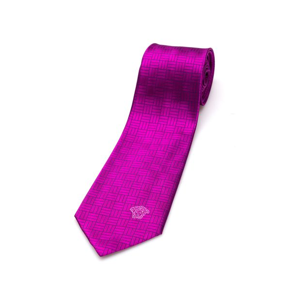 Versace Collection Men's Pink Geometric Silk Slim Tie