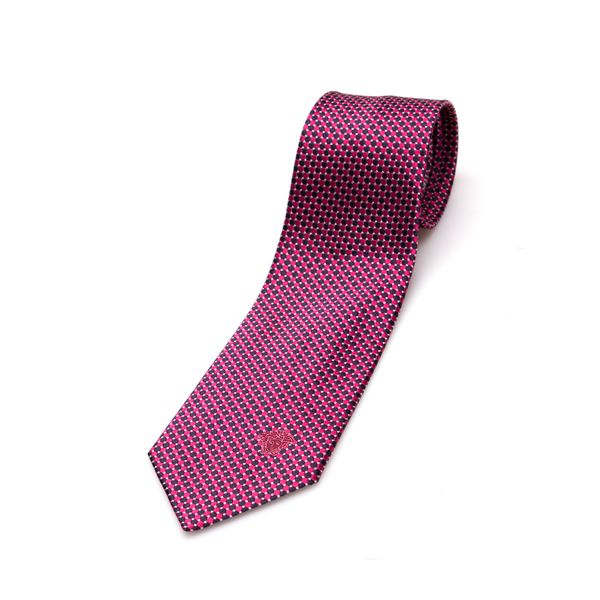 Versace Collection Men's Blue/ Pink Dot Silk Slim Tie