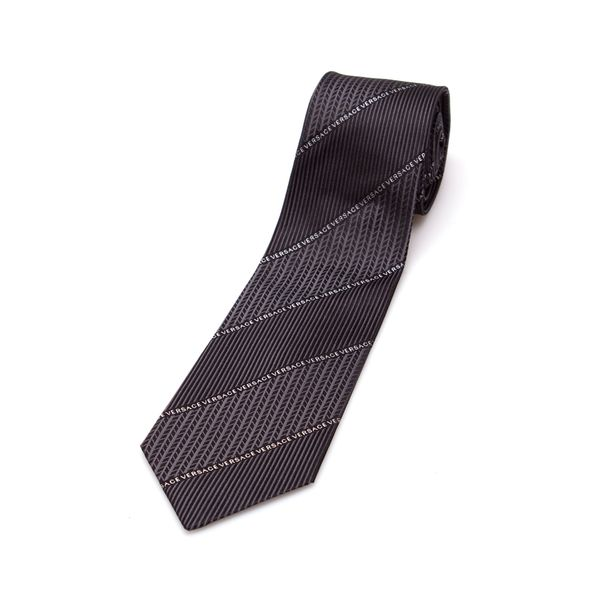 Versace Collection Men's Grey Print Silk Slim Tie