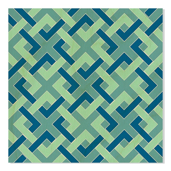 Gallery Direct New Era Original Turquoise Chain Link Fence Print on Birchwood Wall Art