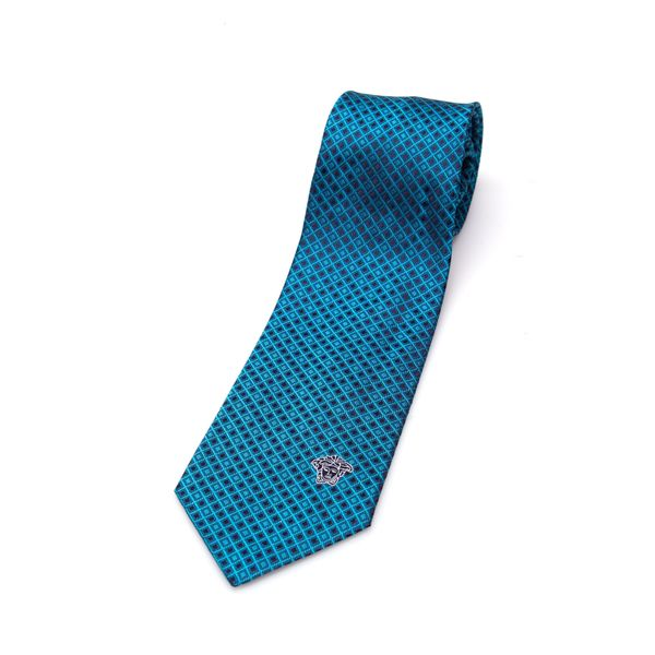 Versace Collection Teal Pattern Men's Silk Slim Tie